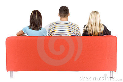 Man And Two Women On Couch Back View