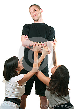 Man and two young women