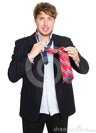 Free Man Tying A Tie - Funny Stock Image - 24451531