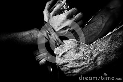 Man tying up woman