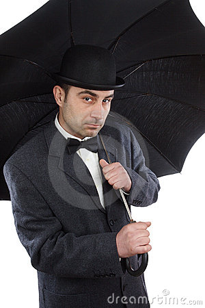 Man  and an umbrella