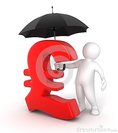 Man with Umbrella and Pound Sign (clipping path included)