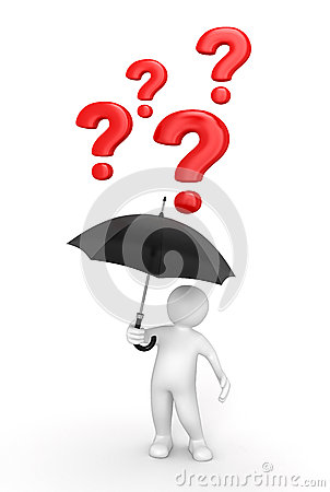 Man with Umbrella and questions (clipping path included)
