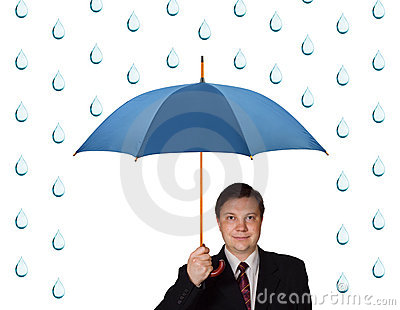 Man with umbrella and rain