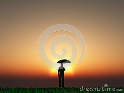 Man with umbrella sun