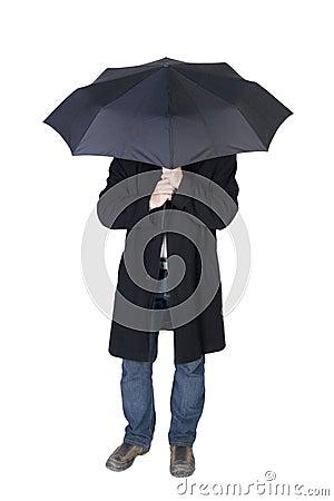 Man under a black umbrella