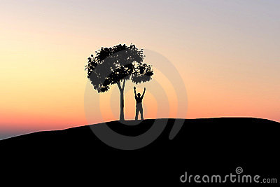Man under lonely tree