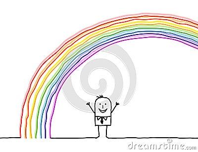 Man under the rainbow