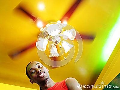 Man under spinning lights
