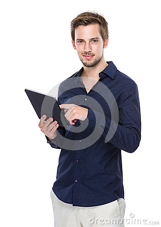 Free Man Use Of Digital Tablet Royalty Free Stock Photography - 44481257