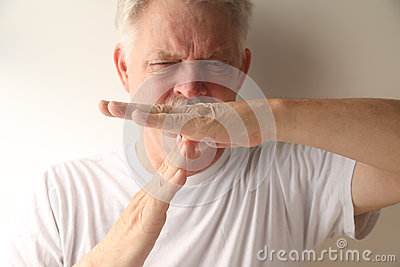 Man uses timeout hand signal