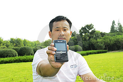 The man using cell phone