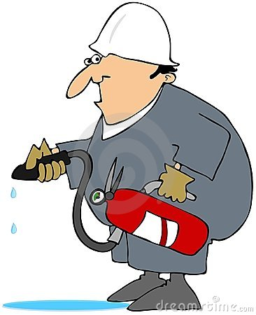 Man Using A Class A Fire Extinguisher