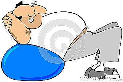 Man Using Exercise Ball