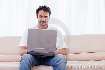 Man using a laptop