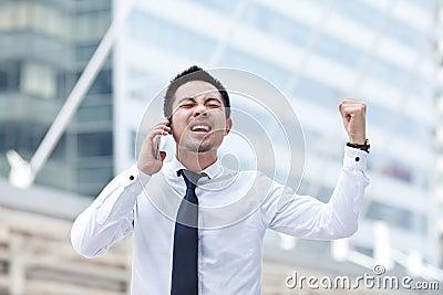 Man using mobile smart phone