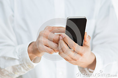 Man using a mobile smartphone