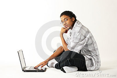 Man using a notebook computer