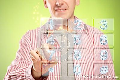 Man using numeric pad