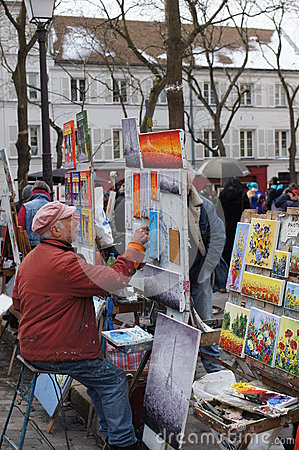 Artist Painting in Montmartre, Paris, France Editorial Image