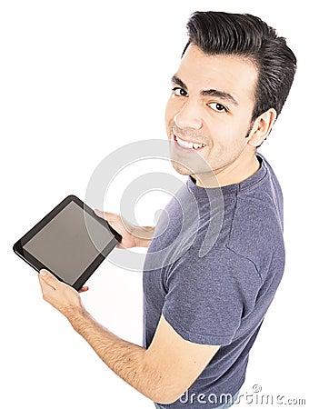 Man using tablet computer or iPad