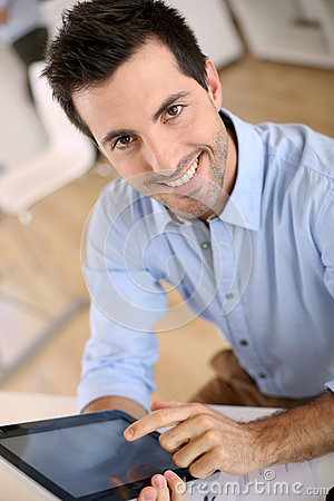 Man using tablet at work