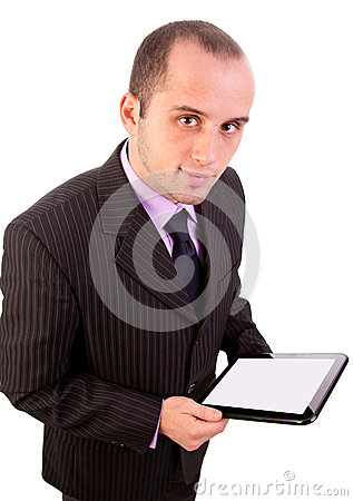 Man using a touchpad pc