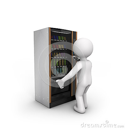 Man Using A Vending Machine Stock Illustration Image