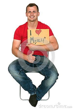 Man Very Happy With I Love Myself Sign