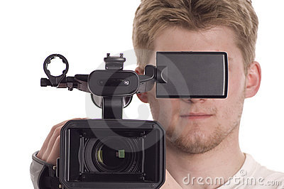 Man with video camcorder