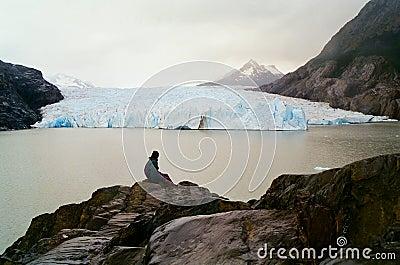 Man viewing Glacier, Chile
