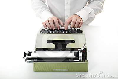Man with vintage typewriter