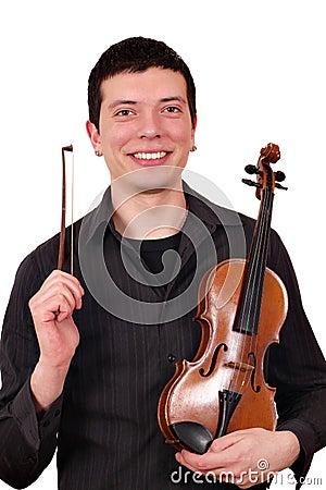 Man with violin posing