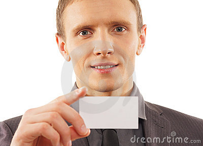 Man with a visit card isolated on white