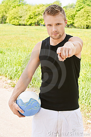 Man with volleyball ball