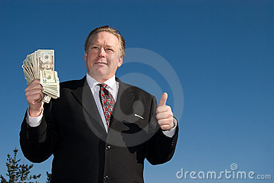 Man with wad of cash.