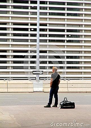 Man waiting at Toronto Airport Editorial Stock Image