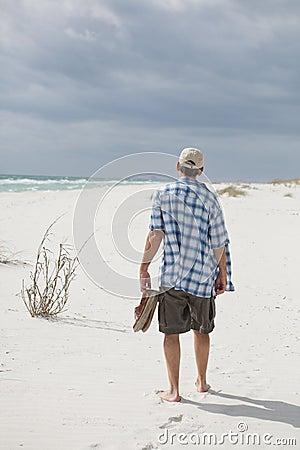 Man Walking on a Beautiful Beach