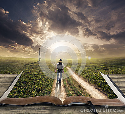 Man Walking On Bible Royalty Free Stock Photo Image