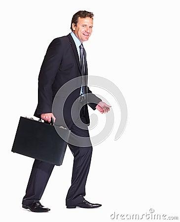 Man walking with a briefcase towards copyspac
