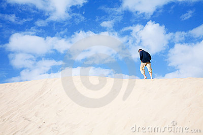Man walking on the crest