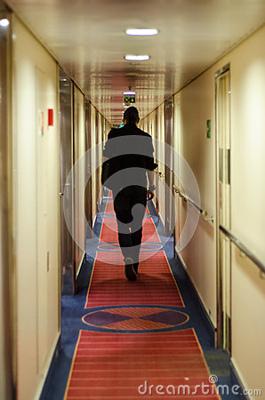 Man walking in cruise ship