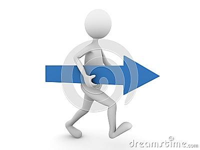 Man walking forward with blue arrow