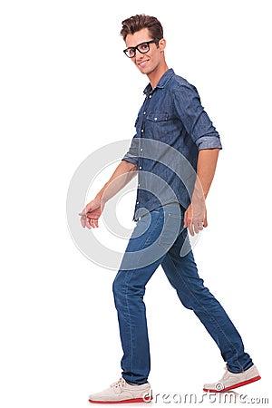 Man walking & looking at you