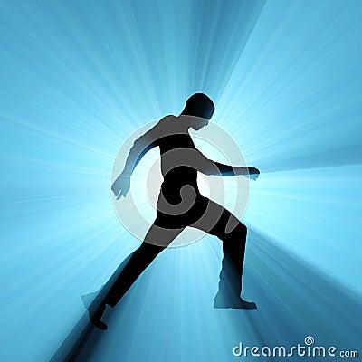 Man walking shadow light flare