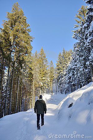 Man walking in the snow