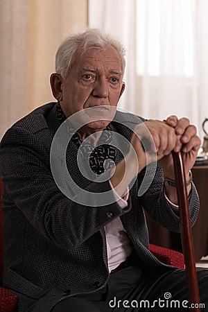 Man With Walking Stick Stock Photo Image 54379808