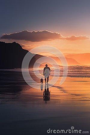 Free Man Walking The Dog On Beach Royalty Free Stock Images - 101269249
