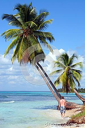 Man walking on Tropical beach