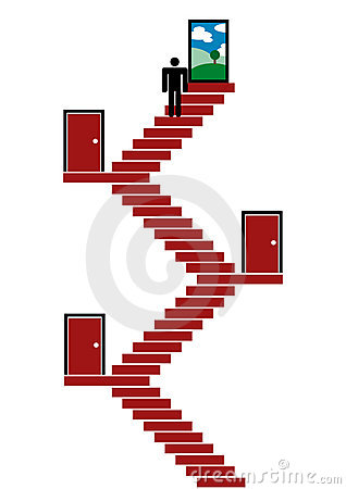 Man walking upstairs to escape